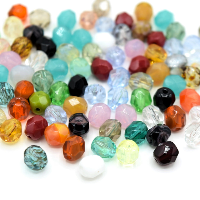 Czech Fire Polished Mix Faceted Glass Round Beads 6mm (60pcs) - Mixed