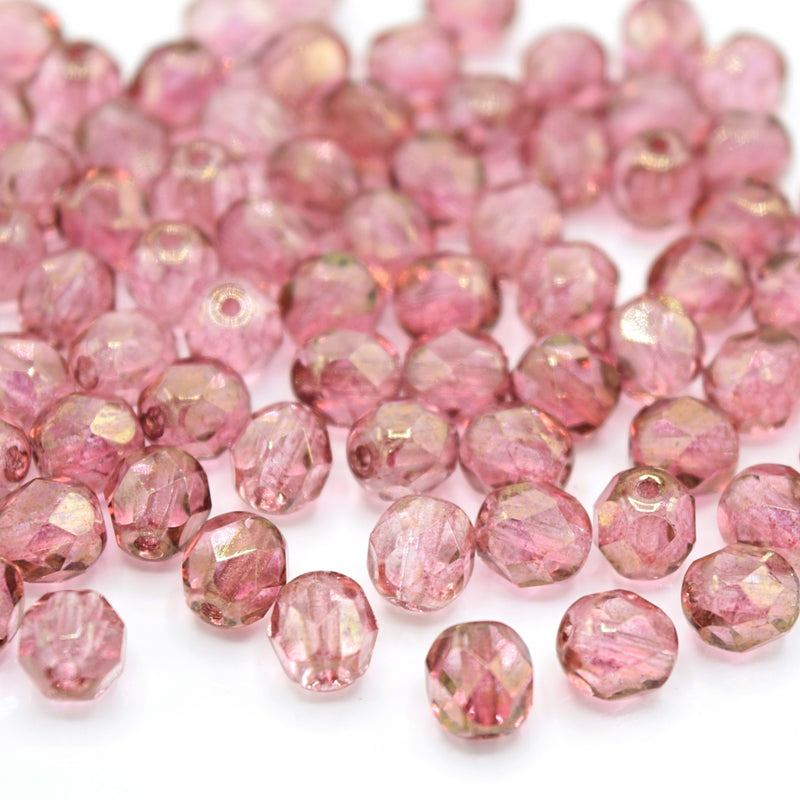 Czech Fire Polished Mix Faceted Glass Round Beads 6mm (60pcs) - Pink / Bronze