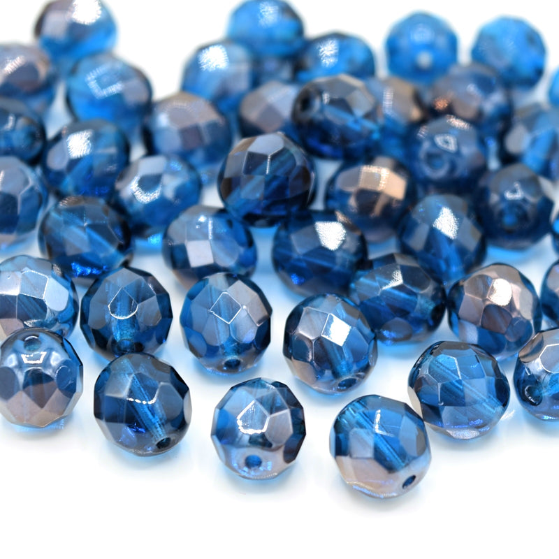 Czech Fire Polished Mix Faceted Glass Round Beads 8mm (30pcs) - Turquoise / Bronze