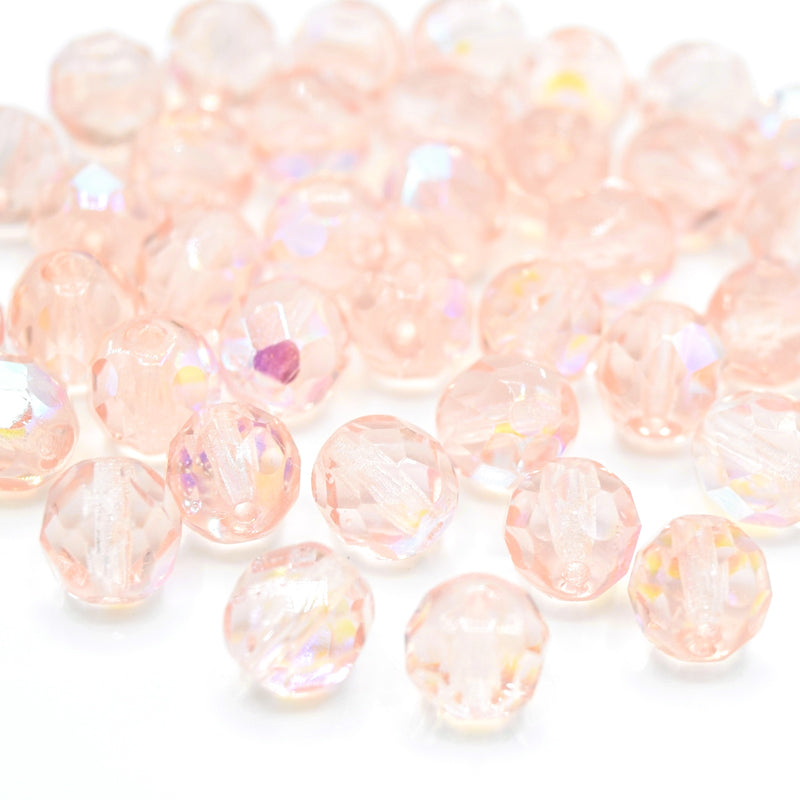 Czech Fire Polished Mix Faceted Glass Round Beads 8mm (30pcs) - Light Pink AB