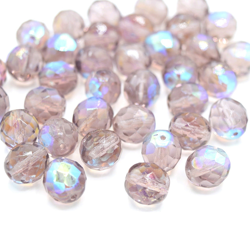 Czech Fire Polished Faceted Glass Round Beads 10mm (15pcs) - Amethyst