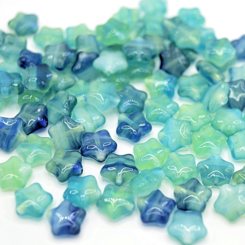 Czech Pressed Glass Star Beads 8mm (40pcs) - Green / Blue
