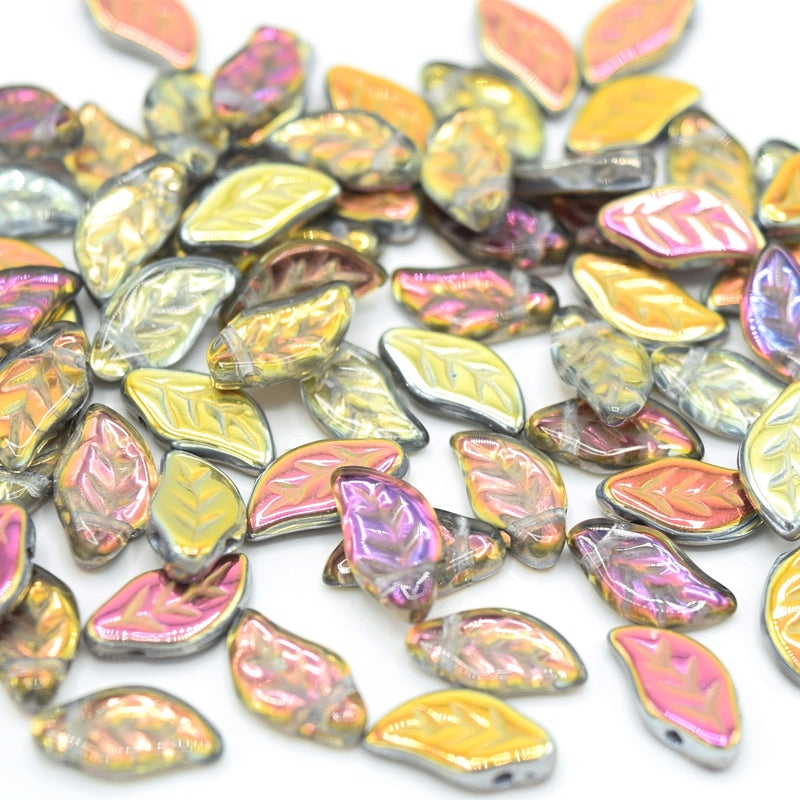Czech Pressed Glass Leaf Beads 6x12mm (30pcs) - Grey / Gold / Pink