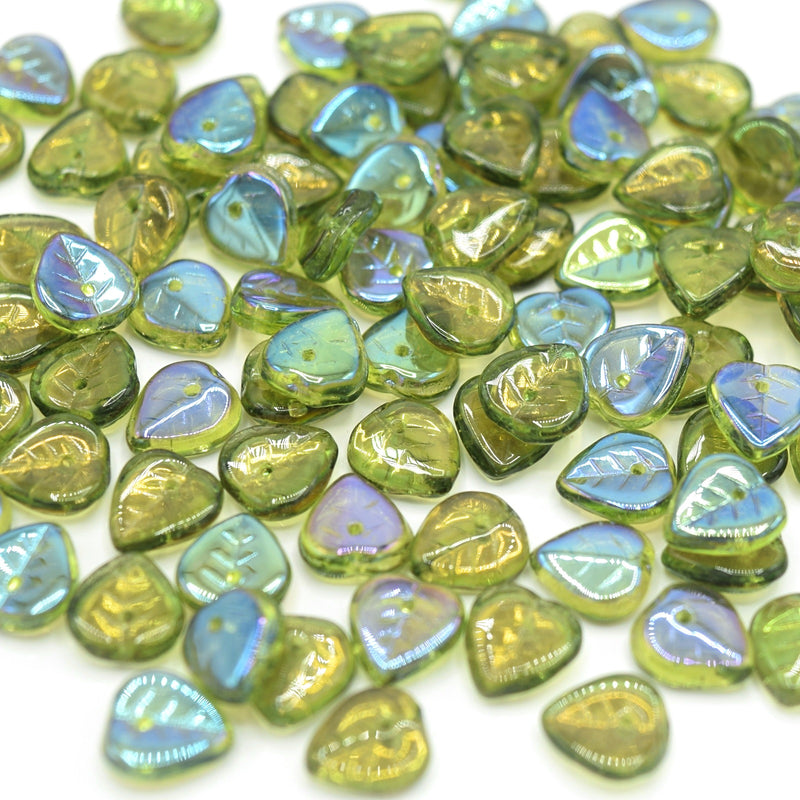 Czech Pressed Glass Leaf Beads 9mm (50pcs) - Olivine AB