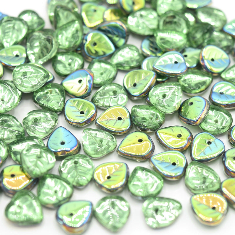 Czech Pressed Glass Leaf Beads 9mm (50pcs) - Peridot / Metallic Green