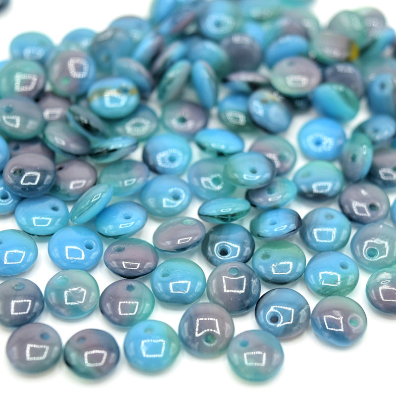 Czech Pressed Glass Lentil Beads 6mm (60pcs) - Blue / Lilac