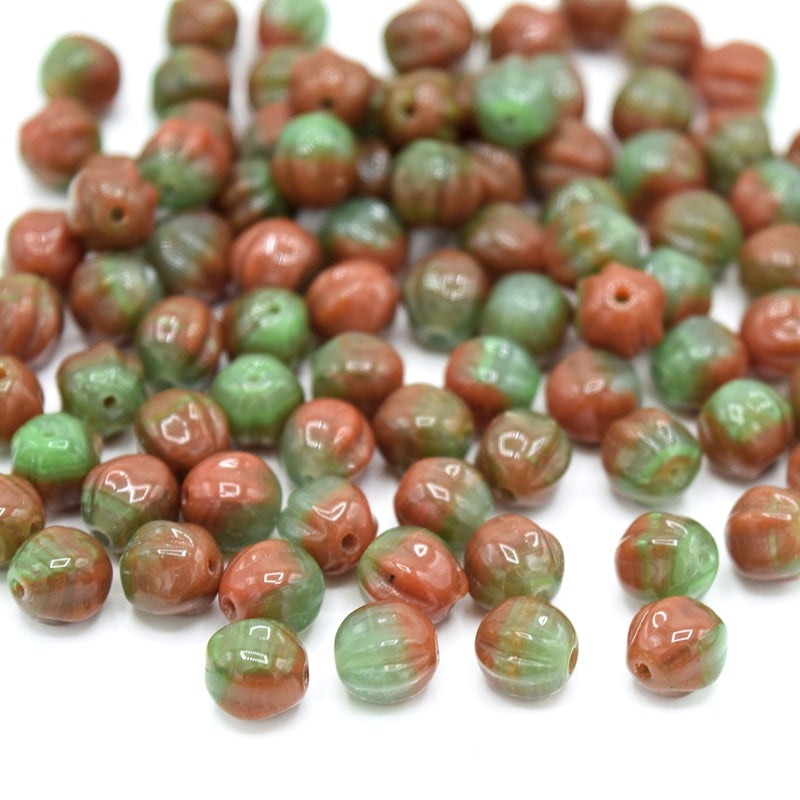 Czech Pressed Glass Melon Beads 6mm (120pcs) - Green / Orange