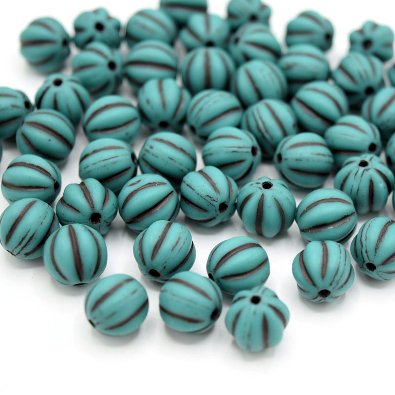 Czech Pressed Glass Melon Beads 8mm (30pcs) - Turquoise