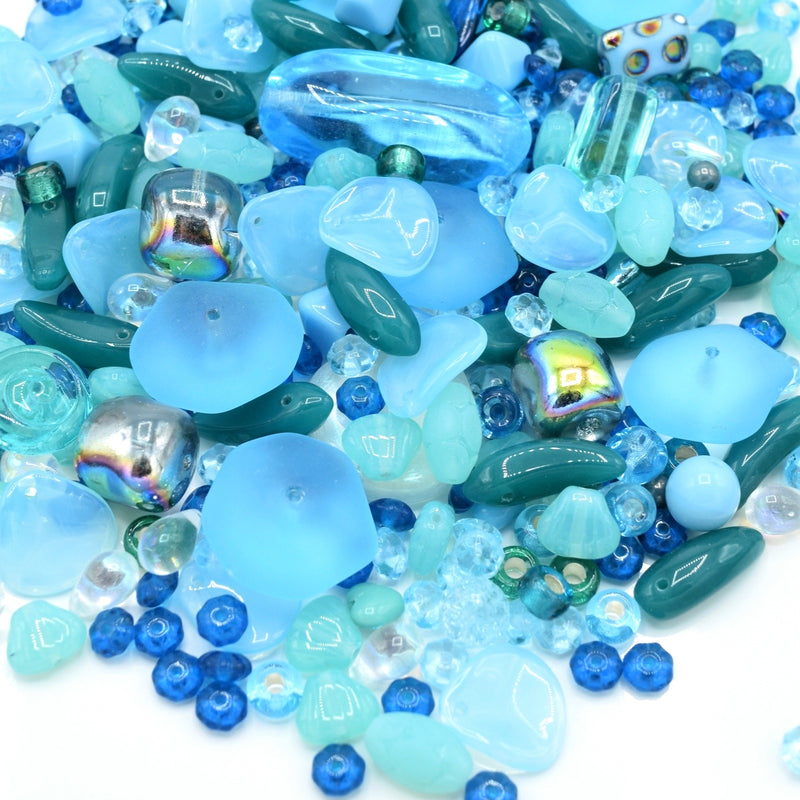Czech Glass Mixed Beads 100g - Aquamarine