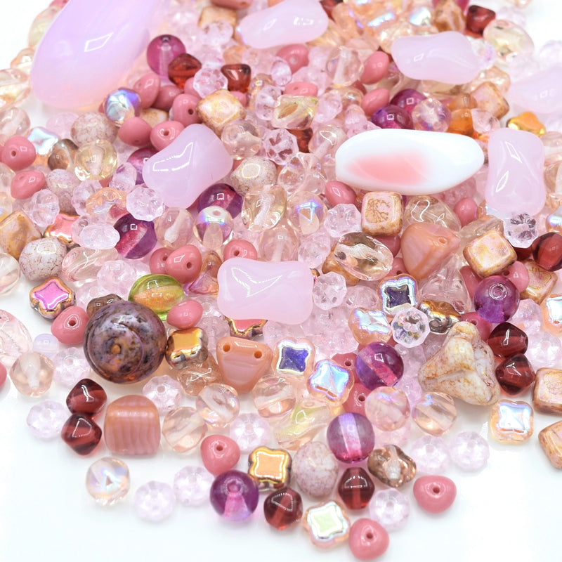 Czech Glass Mixed Beads 100g - Pink