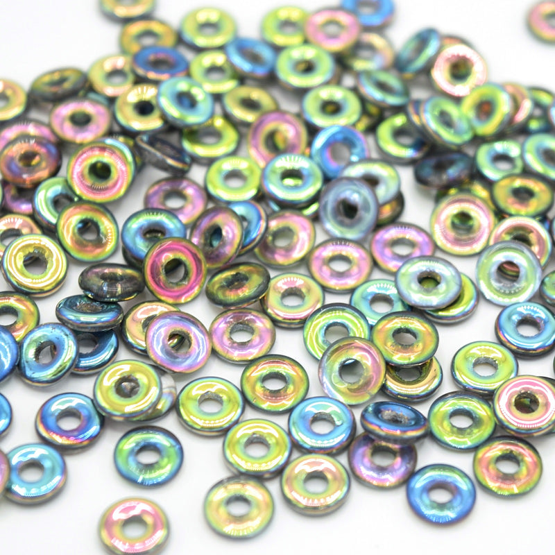 Czech Fire Polished Pressed Glass Round O Beads 6mm (120pcs) - Grey / Multi