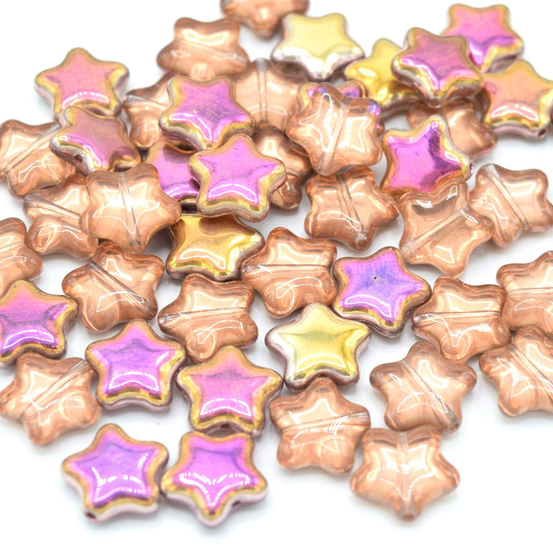 Czech Pressed Glass Star Beads 12mm (20pcs) - Peach / Pink / Gold