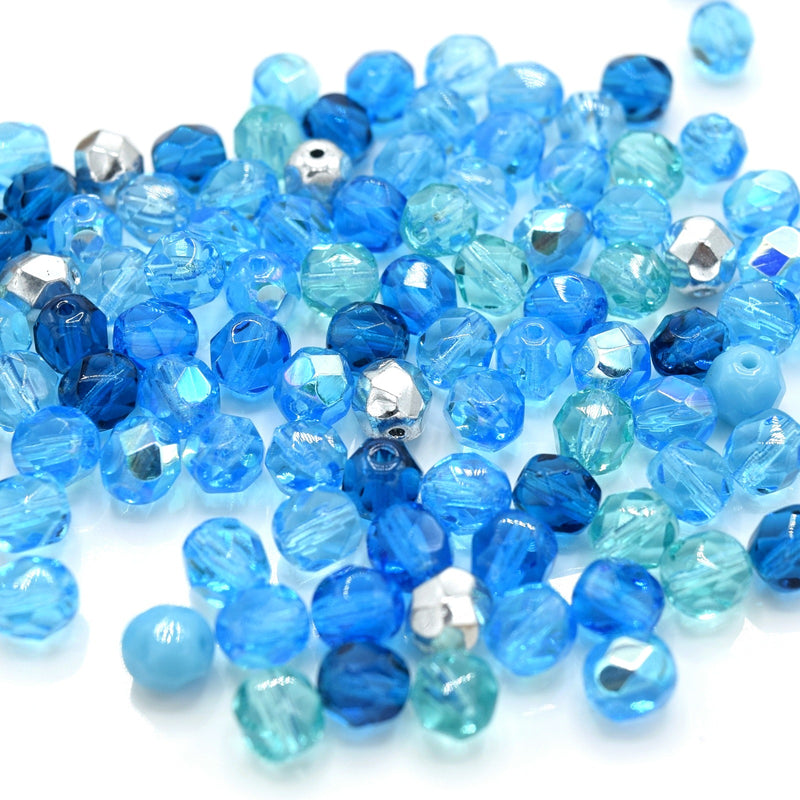 Czech Fire Polished Mix Faceted Glass Round Beads Pick Size - Aquamarine