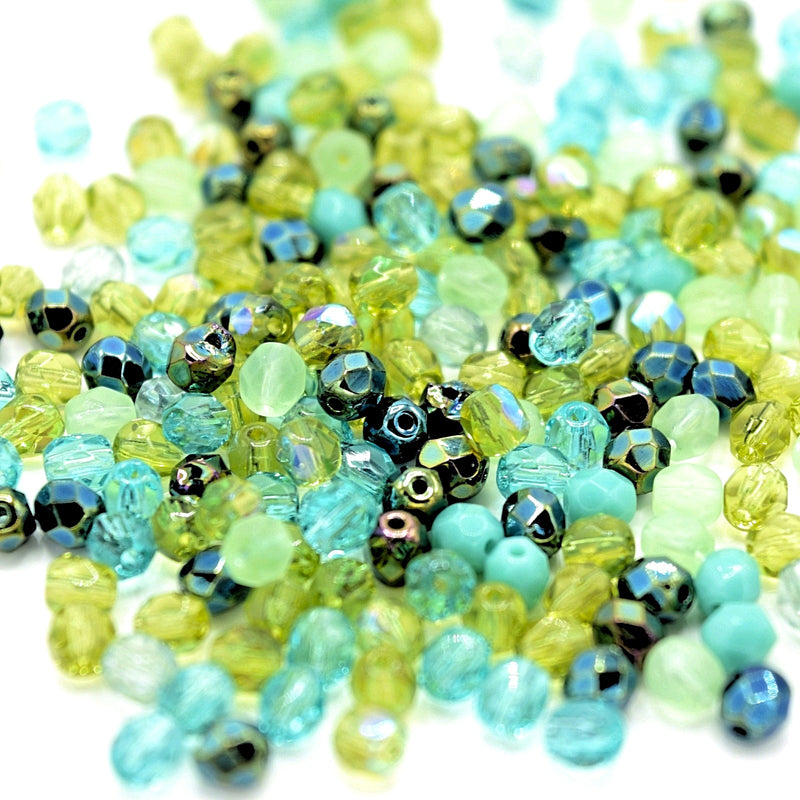 Czech Fire Polished Mix Faceted Glass Round Beads Pick Size - Green