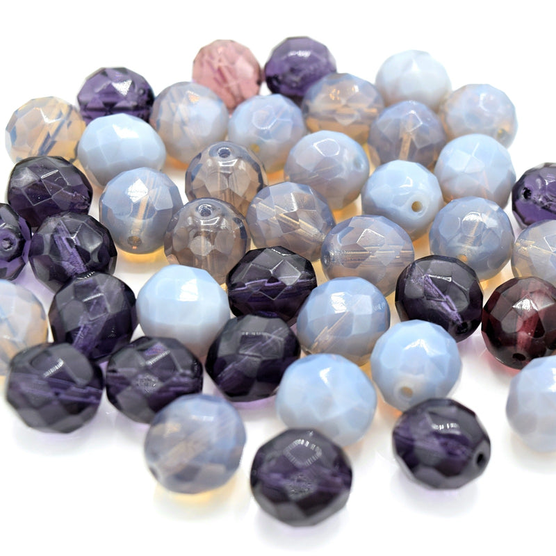 Czech Fire Polished Mix Faceted Glass Round Beads Pick Size - Purple