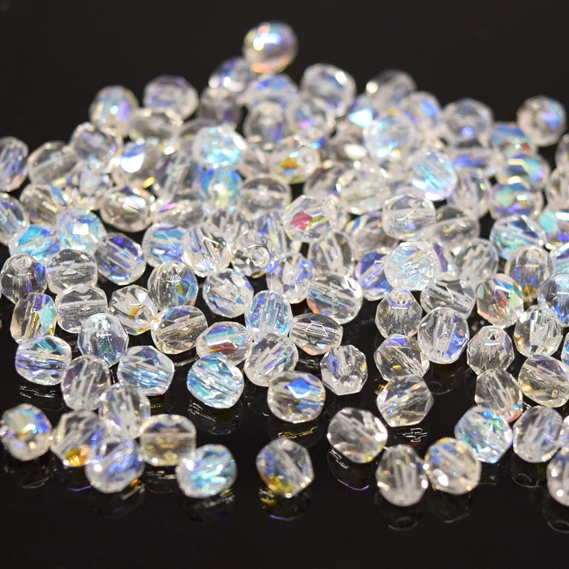 Czech Fire Polished Mix Faceted Glass Round Beads Pick Size - Clear AB