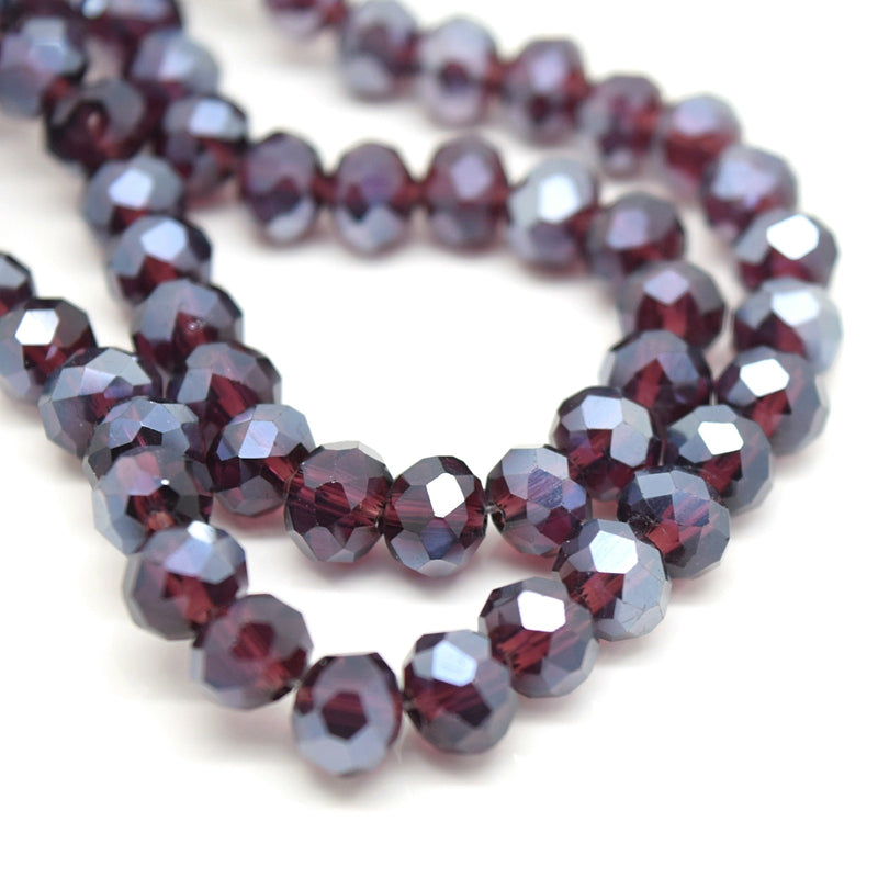 98-100 x Faceted Rondelle Glass Beads 6mm - Dark Amethyst Lustre
