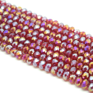 Faceted Rondelle Glass Beads - Dark Siam AB
