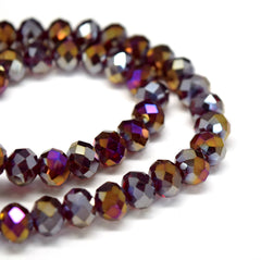 STAR BEADS: FACETED RONDELLE GLASS BEADS - DARK SIAM AB - Rondelle Beads