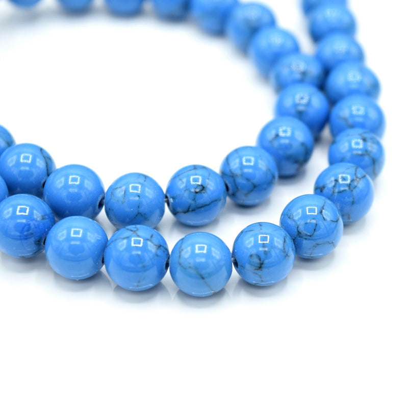 48 x Round 8mm Strand Gemstone Beads - Synthetic Dyed Turquoise Blue