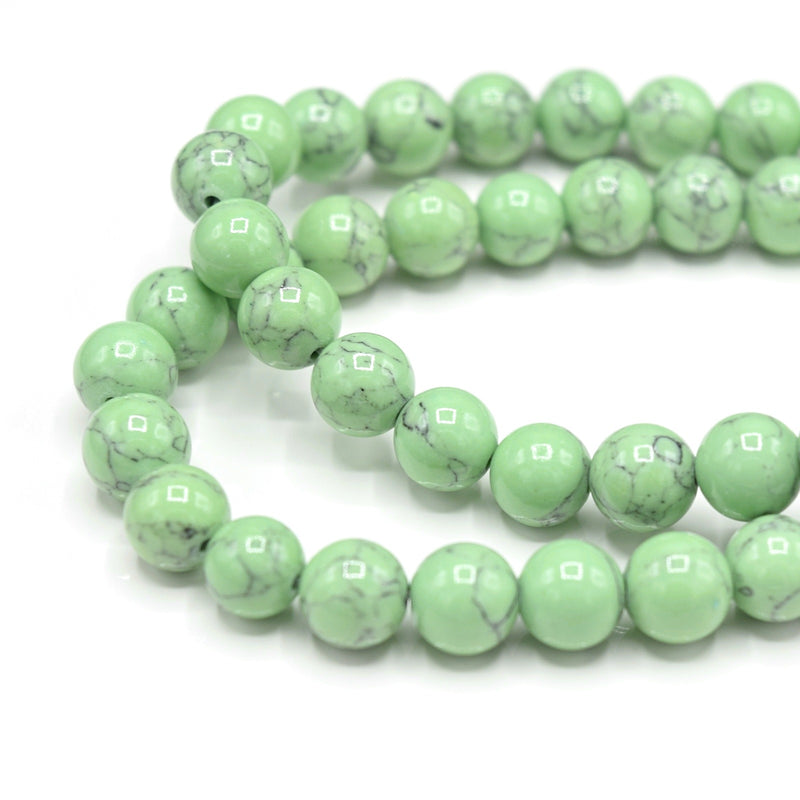 48 x Round 8mm Strand Gemstone Beads - Synthetic Dyed Turquoise Light Green