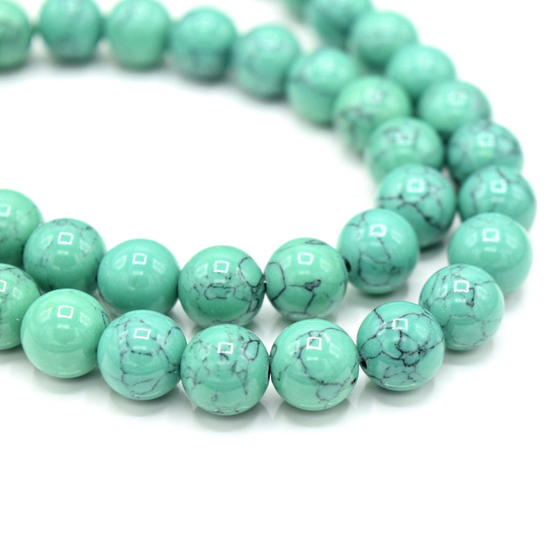 48 x Round 8mm Strand Gemstone Beads - Synthetic Dyed Turquoise Mint