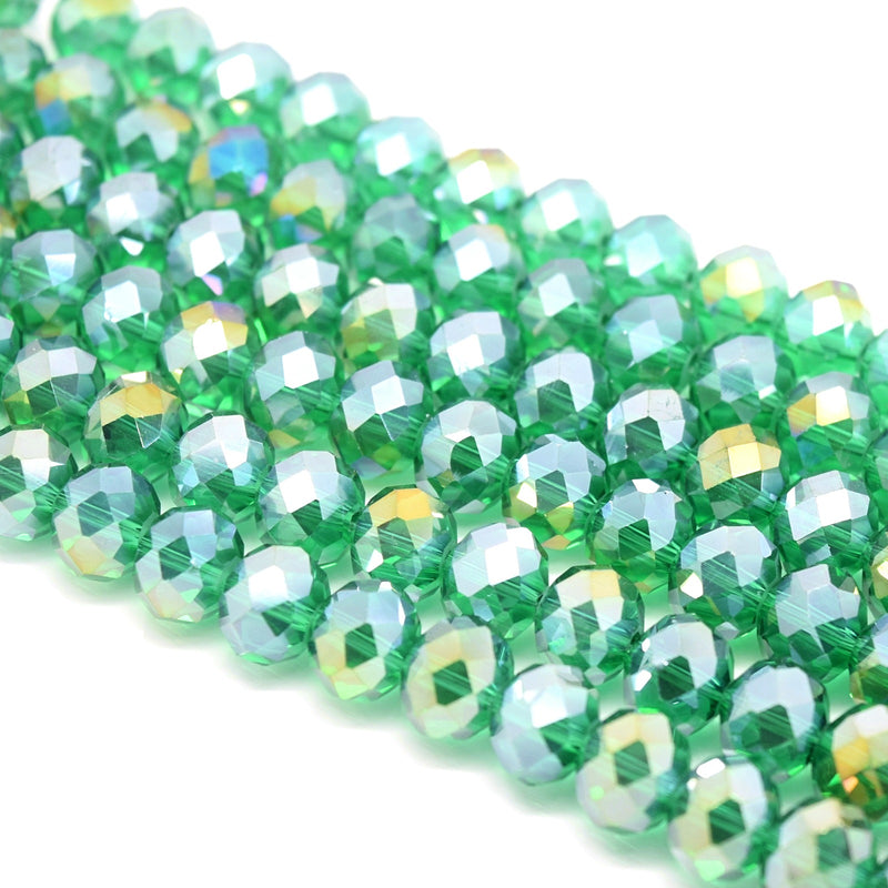 Faceted Rondelle Glass Beads - Emerald Lustre