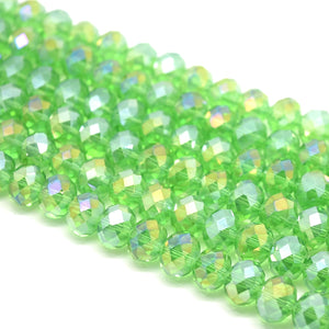 Faceted Rondelle Glass Beads - Fern Green AB