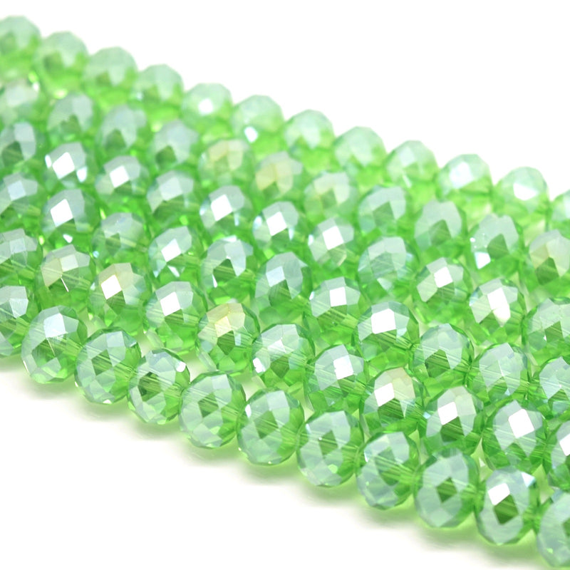 Faceted Rondelle Glass Beads - Fern Green Lustre