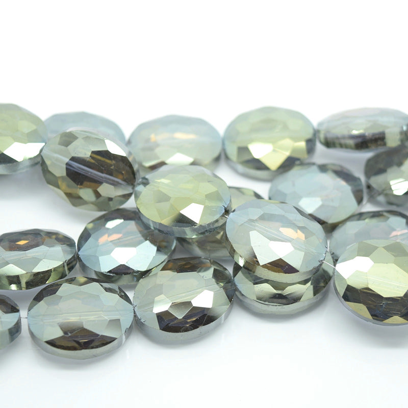 STAR BEADS: 5 x Flat Oval Faceted Glass Beads 20x16x8mm - Grey / Gold - Oval Beads