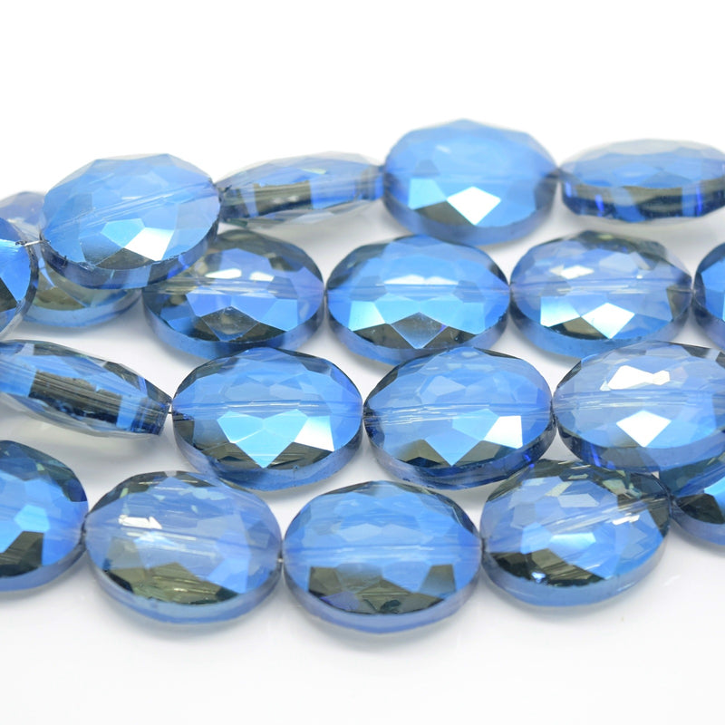 STAR BEADS: 5 x Flat Oval Faceted Glass Beads 20x16x8mm - Grey / Metallic Blue - Oval Beads