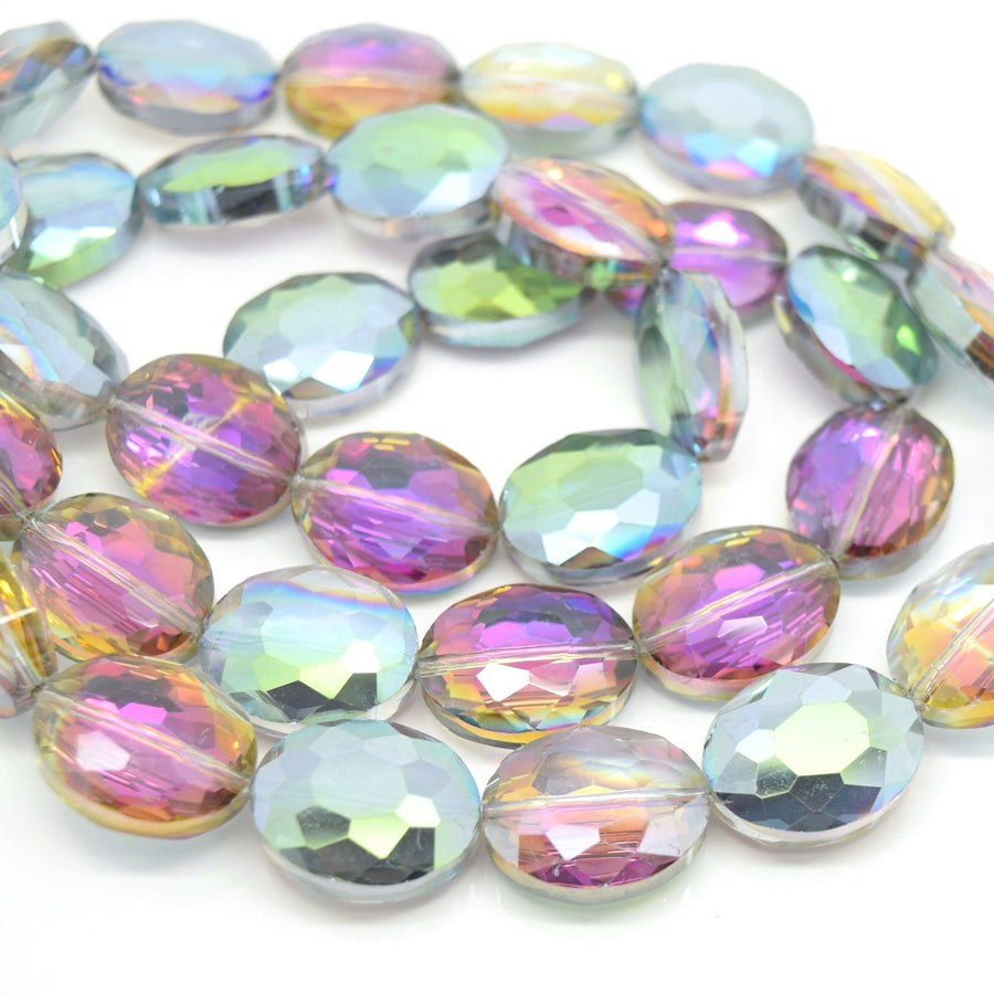 STAR BEADS: 5 x Flat Oval Faceted Glass Beads 20x16x8mm - Grey / Metallic Green - Oval Beads