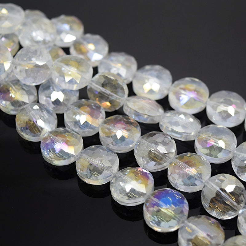 STAR BEADS: 10 x Flat Round Faceted Glass Beads 14x7mm - Clear AB - Round Beads