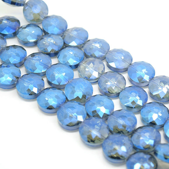 STAR BEADS: 10 x Flat Round Faceted Glass Beads 14x7mm - Grey / Metallic Blue - Round Beads