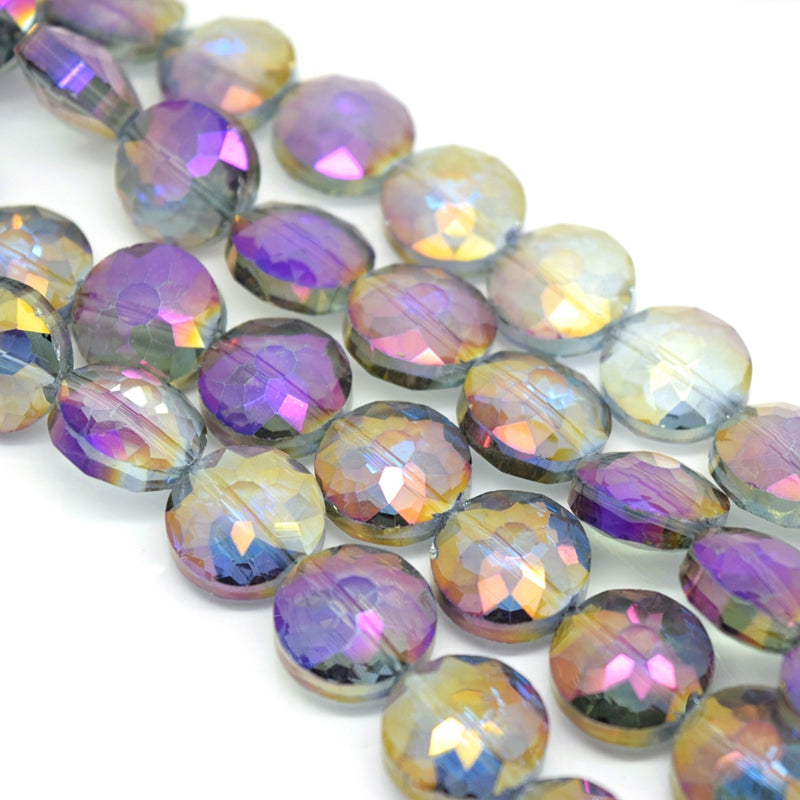 STAR BEADS: 10 x Flat Round Faceted Glass Beads 14x7mm - Grey / Metallic Purple - Round Beads