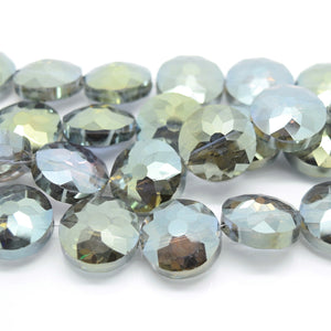 STAR BEADS: 5 x Flat Round Faceted Glass Beads 18x8mm - Grey / Gold - Round Beads