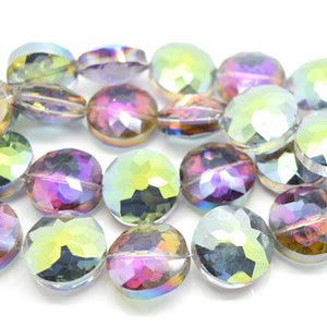 STAR BEADS: 5 x Flat Round Faceted Glass Beads 18x8mm - Grey / Metallic Green - Round Beads