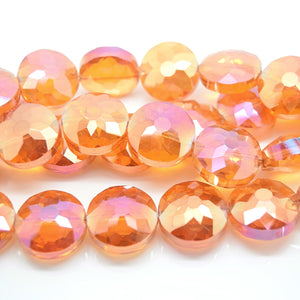 STAR BEADS: 5 x Flat Round Faceted Glass Beads 18x8mm - Orange AB - Round Beads