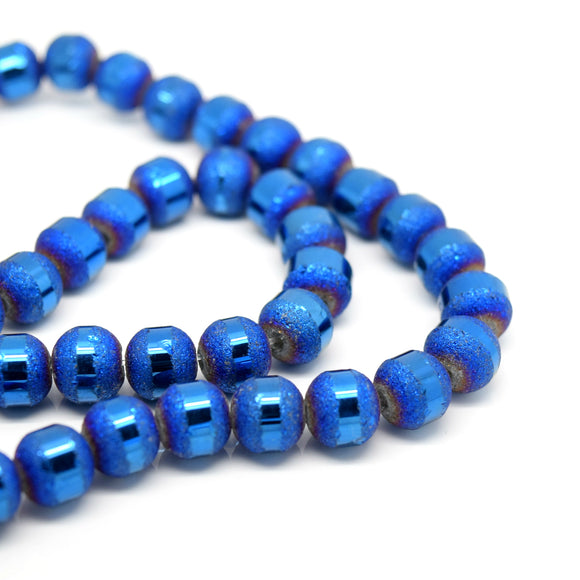 STAR BEADS: 70 x Round Electroplated Frosted Glass Beads 8x9mm - Metallic Blue - Round Beads
