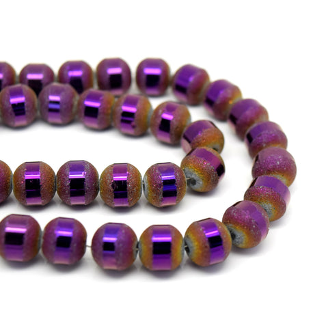 70 X ROUND ELECTROPLATED FROSTED GLASS BEADS 8X9MM METALLIC PURPLE