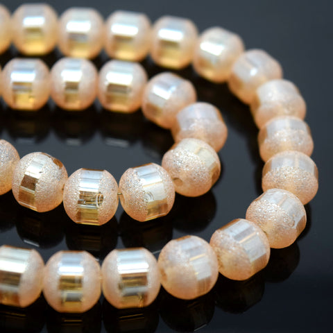 70 X ROUND ELECTROPLATED FROSTED GLASS BEADS 8X9MM PEACH
