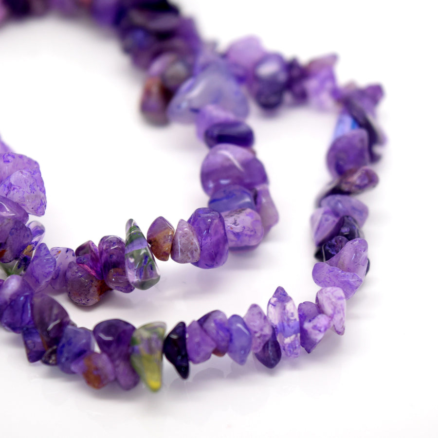 "STAR BEADS: 32-34"" Strand Synthetic Glass Gemstone Beads Chips - Amethyst - Glass Gemstone Beads"