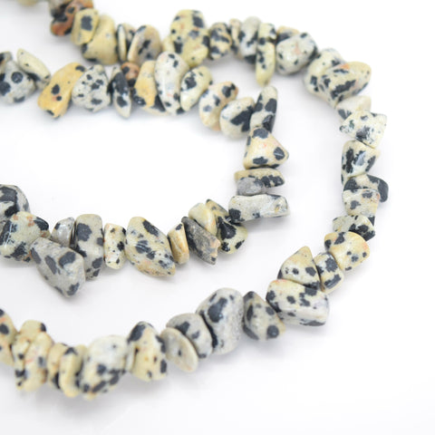 "32"" STRAND GLASS GEMSTONE CHIP CRYSTAL 300+ BEADS 4-7MM DALMATIAN"