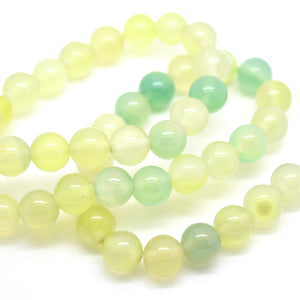 STAR BEADS: 48 x Round 8mm Strand Gemstone Beads - Natural Green Agate - Glass Gemstone Beads