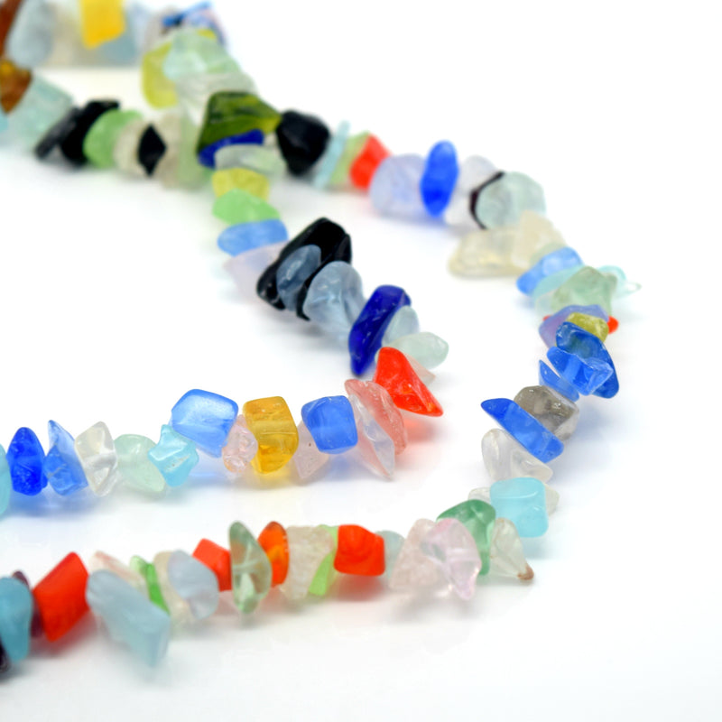 "STAR BEADS: 32-34"" Strand Synthetic Glass Gemstone Beads Chips - Multicolour Glass - Glass Gemstone Beads"