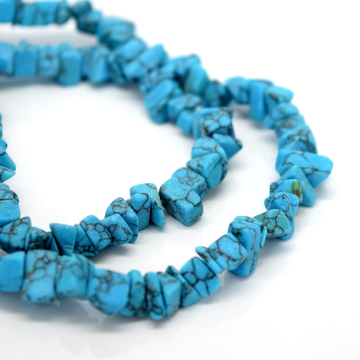 "STAR BEADS: 32-34"" Strand Synthetic Glass Gemstone Beads Chips - Turquoise - Glass Gemstone Beads"
