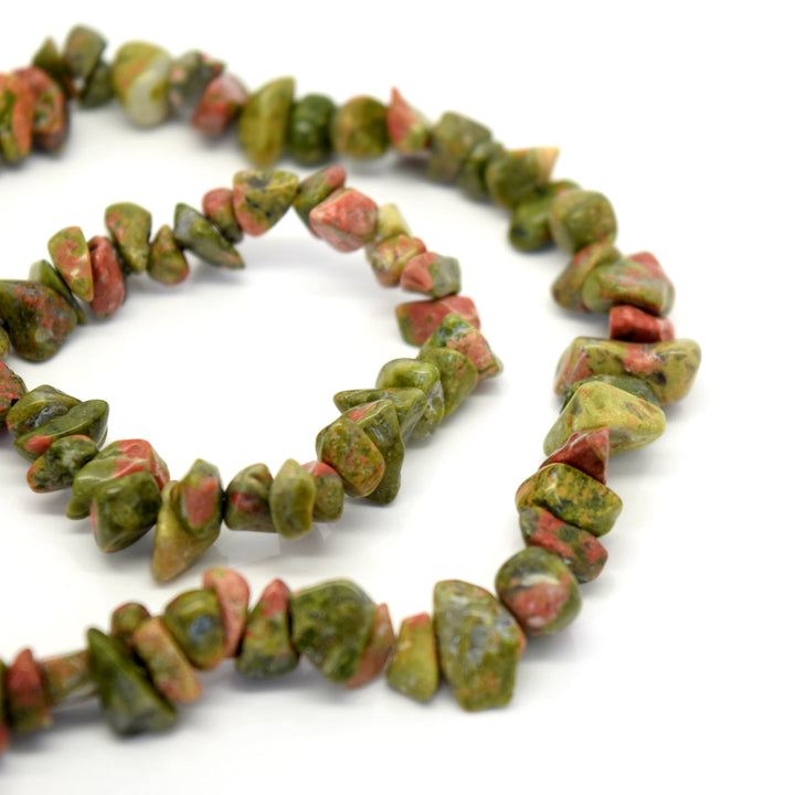 "STAR BEADS: 32-34"" Strand Synthetic Glass Gemstone Beads Chips - Unakite - Glass Gemstone Beads"