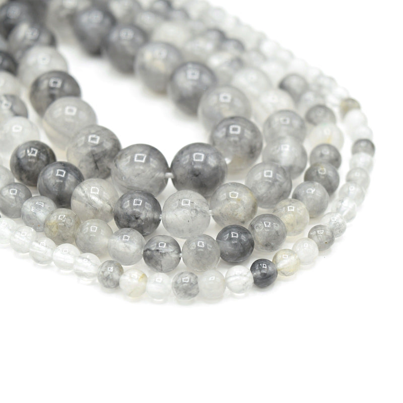 Smooth Round Gemstone Beads - Natural Grey Quartz