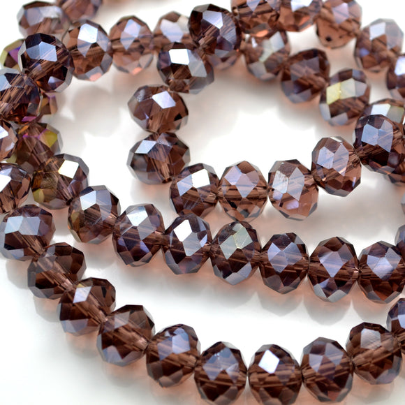 STAR BEADS: FACETED RONDELLE GLASS BEADS - AMETHYST LUSTRE - Rondelle Beads