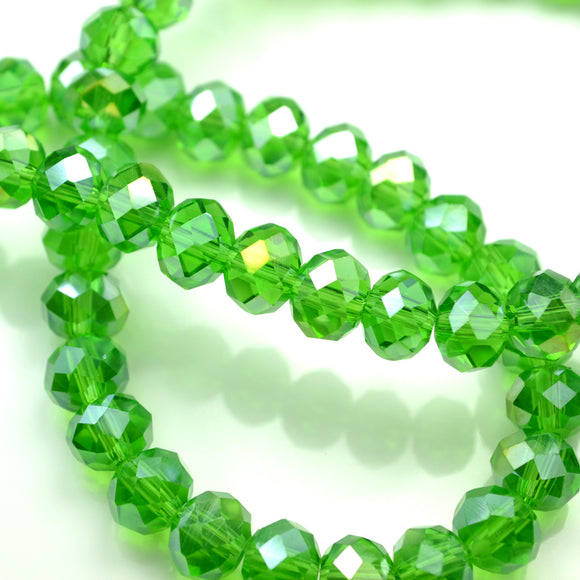 STAR BEADS: FACETED RONDELLE GLASS BEADS - FERN GREEN LUSTRE - Rondelle Beads